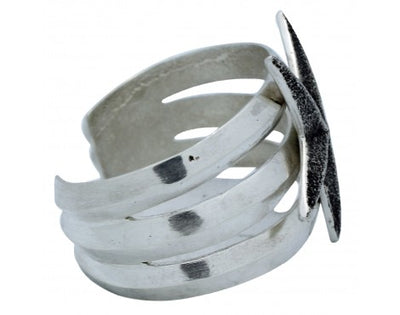 Load image into Gallery viewer, Lee Begay, Tufa Cast Bracelet, Star Design, Sterling Silver, Navajo Made, 6 1/4