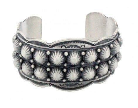 Gene Natan, Bracelet, Two Row Buttons, Sterling Silver, Navajo Handmade