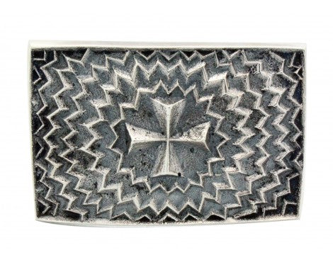 Kevin Yazzie, Buckle, Cross Design, Sterling Silver, Navajo Handmade,