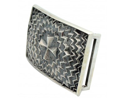 Load image into Gallery viewer, Kevin Yazzie, Buckle, Cross Design, Sterling Silver, Navajo Handmade,