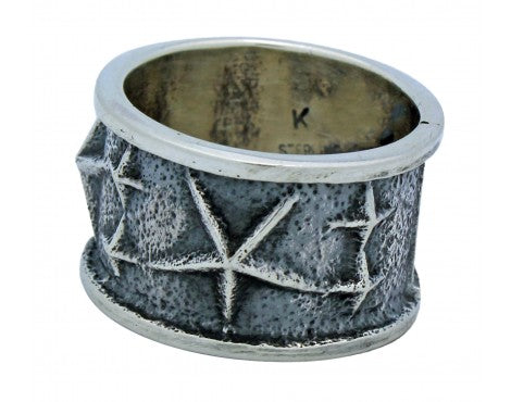 Kevin Yazzie, Tufa Cast Ring, Stars, Sterling Silver, Navajo Handmade, 11.5
