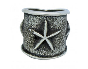 Kevin Yazzie, Tufa Cast Wide Band, Stars, Sterling Silver, Navajo Handmade, 5