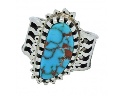 Arland Ben, Ring, Candelaria Turquoise, 14k Gold, Sterling, Navajo Handmade, 8.5