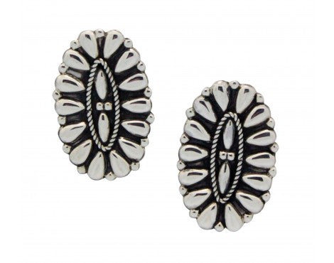Melvin Francis, Earring, Cluster Design, Sterling Silver, Navajo Handmade, 1.25
