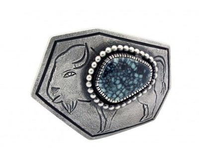 Load image into Gallery viewer, Monty Claw, Buckle, Tufa Cast, Royal Web Turquoise, Buffalo, Navajo Made