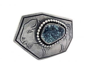 Monty Claw, Buckle, Tufa Cast, Royal Web Turquoise, Buffalo, Navajo Made