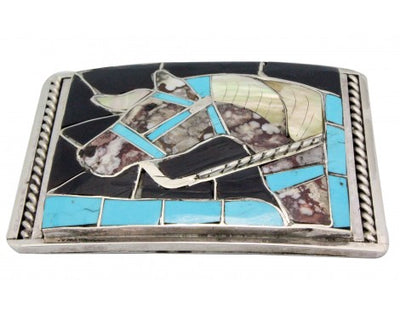 Load image into Gallery viewer, Helen, Lincoln Zunie, Buckle, Horse Design, Inlay, Sterling Silver, Handmade