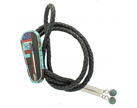 Hank Whitethorne, Bolo, Multi Stone Inlay, Sterling Silver, Navajo Handmade, 44