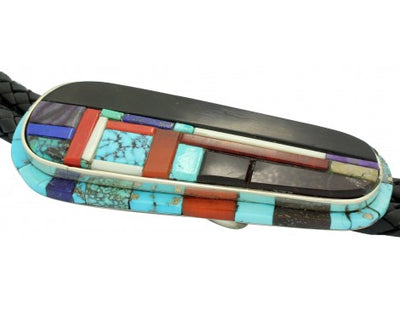 Load image into Gallery viewer, Hank Whitethorne, Bolo, Multi Stone Inlay, Sterling Silver, Navajo Handmade, 44