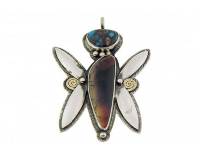 Load image into Gallery viewer, Arland Ben, Pendant, Bisbee Turquoise, Montana Agate, Navajo Made, 3''