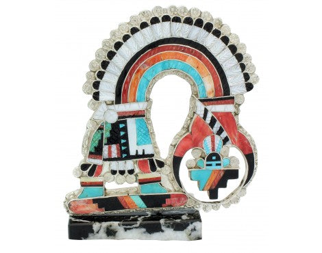 Eldred Martinez, Bolo, Stand, Rainbow Man, Inlay, Large, Silver, Zuni Made,4.5in