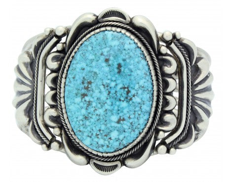 Stacey Gishal, Bracelet, Kingman Turquoise, Silver, Navajo Handmade, 6.75 in