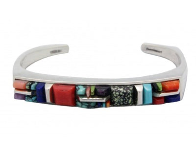 Load image into Gallery viewer, Stoneweaver, Inlay Bracelet, Turquoise, Coral, Lapis, Navajo Handmade