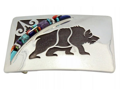 Load image into Gallery viewer, Cecil Ashley, Stoneweaver, Buckle, Overlay Bear, Inlay, Navajo Handmade