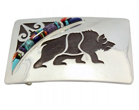 Cecil Ashley, Stoneweaver, Buckle, Overlay Bear, Inlay, Navajo Handmade