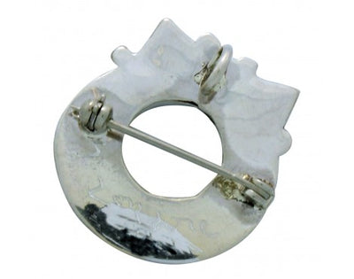 Load image into Gallery viewer, Stephen Lonjose, Multi-Stone Inlay, Christmas, Wreath, Pin, Pendant, Zuni, 1.1in