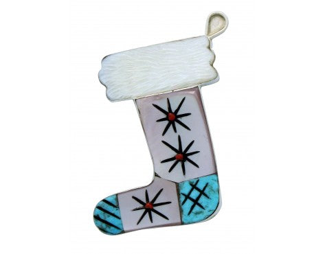 Valerie Comosona, Pin, Christmas Stocking, Multi Stone Inlay, Zuni Handmade, 2in