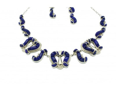 Load image into Gallery viewer, Cecil Ashley, Stoneweaver, Necklace, Earrings, Blue Lapis, Inlay, Navajo