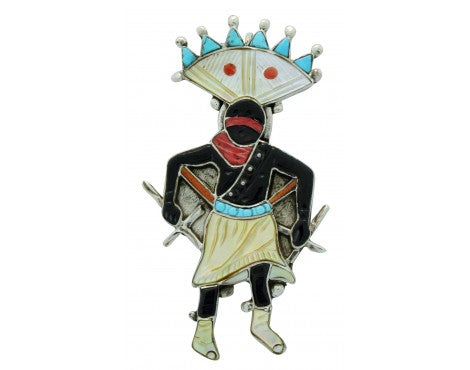 Virgil, Shirley, Benn, Pin, Pendant, Inlay, Apache Crown Dancer, Handmade, 2.75