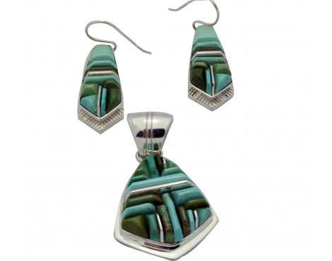 Kenneth Bitsie, Stoneweaver, Pedant, Earrings,Turquoise, Navajo Made