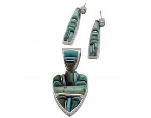 James Lee, Stoneweaver, Pendant, Earring, Royston Turquoise, Navajo Made