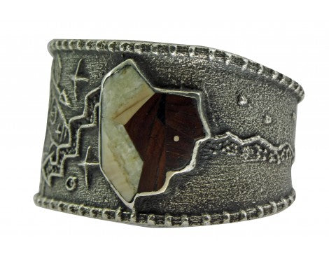 Monty Claw, Tufa Cast Bracelet, Inlay Buffalo, Warrior, Silver, Navajo, 6 1/2''