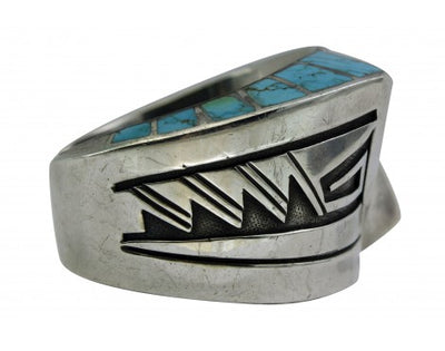 Load image into Gallery viewer, Lonn Parker, Triangle Inlay Cuff, Large Size, Number Eight Turquoise, Navajo,6 6 7/8
