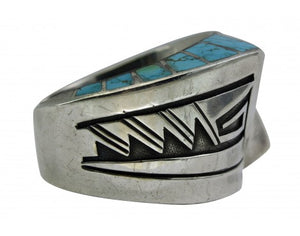 Lonn Parker, Triangle Inlay Cuff, Large Size, Number Eight Turquoise, Navajo,6 6 7/8