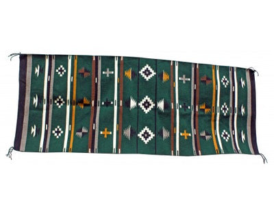 Load image into Gallery viewer, Bessie Yazzie, Green Chinle Pattern Rug, Navajo Handwoven, 28 in x 68 in