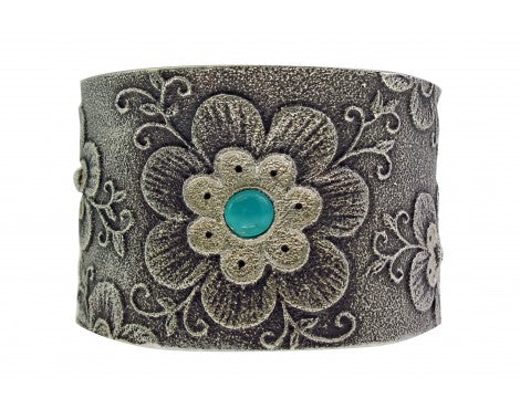 Rebecca Begay, Tufa Bracelet, Blue Gem Turquoise, Flower, Navajo Made, 6 1/2'