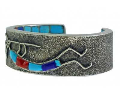 Load image into Gallery viewer, Philander Begay, Tufa Bracelet, Inlay, Inner Beauty, Kokopelli, Navajo, 6