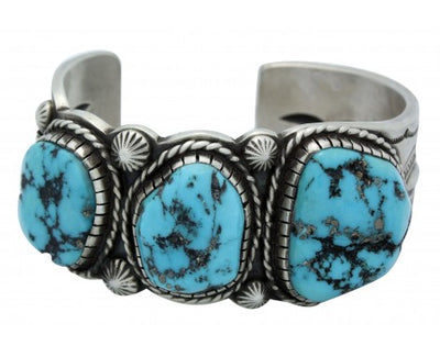 Load image into Gallery viewer, Calvin Martinez, Cuff, Kingman Turquoise Nuggets, Silver, Navajo Handmade, 6.5 in