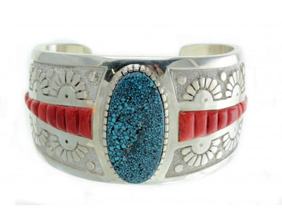 Load image into Gallery viewer, Mike Perry, Spider Web Kingman Turquoise, Coral Inlay Cuff, Navajo