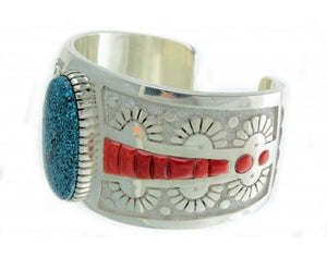 Mike Perry, Spider Web Kingman Turquoise, Coral Inlay Cuff, Navajo