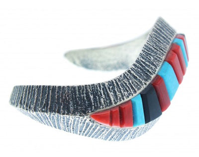 Load image into Gallery viewer, Harrison Jim, Tufa Cast Bracelet, Jet, Coral, Turquoise Inlay, Navajo