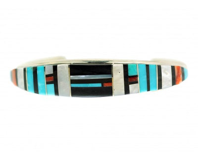 Load image into Gallery viewer, Erma Eustace, Raised Inlay Bracelet, Spiny Oyster, Shell, Turquoise, Jet
