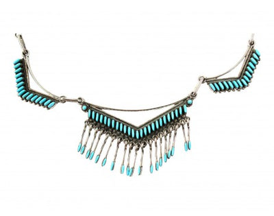 Load image into Gallery viewer, Zuni, Choker Necklace, Pierced Earrings, Turquoise Needlepoint, MNU