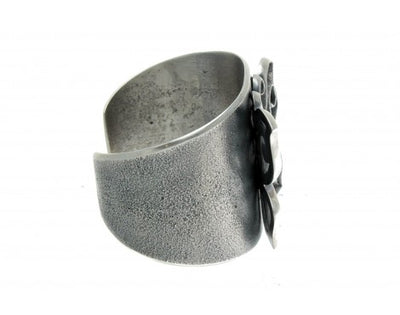 Load image into Gallery viewer, Aaron Anderson, Tufa Cast Bracelet, Butterfly Design, Silver, Navajo