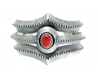 Load image into Gallery viewer, Harrison Jim, Tufa Cast Bracelet, Mediterranean Coral, Heavy Design, Navajo