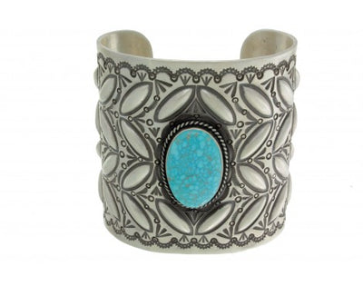Load image into Gallery viewer, Herman Smith, Kingman Turquoise, Wide Sterling Silver Cuff, Navajo, Signed