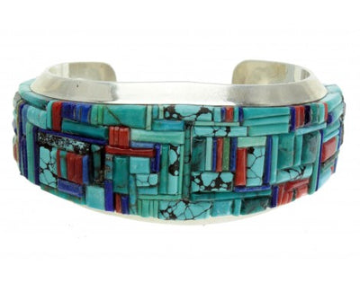 Load image into Gallery viewer, Gilford Tsattie, Melvin Francis, Zuni Inlay Cuff, Navajo Silver, Signed