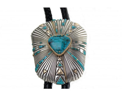 Load image into Gallery viewer, Raymond Yazzie, Lone Mountain Turquoise Bolo, a Legend