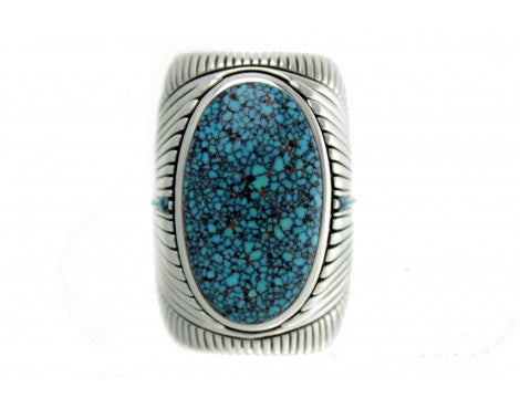 Raymond Yazzie, Kingman Web Turquoise, Inlay Ring, Size 11