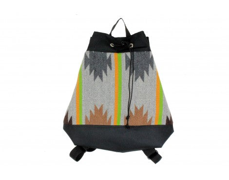 Gallup Throw Backpack, Woven Rug, Navajo Made, Drawstring 8