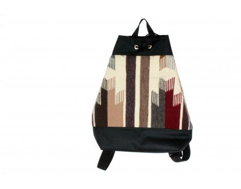 Gallup Throw Backpack, Woven Rug, Navajo Made, Drawstring 2