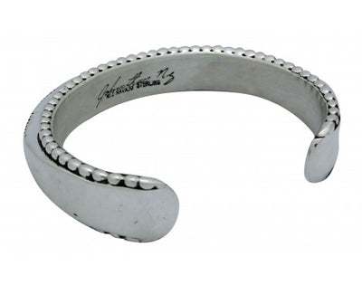 Load image into Gallery viewer, Jonathan Nez, Bracelet, Sterling Silver, Large, Heavy, Stamp, Navajo Made,7.25in