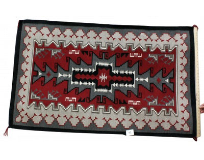 "Load image into Gallery viewer, Sadie Curtis, Classic Ganado Diamond Rug, Navajo Hand Woven, 36""x60"""