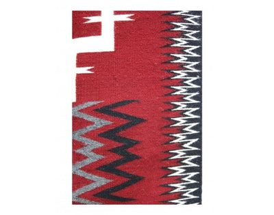 "Load image into Gallery viewer, Della Woody, Storm Pattern, Navajo Hand Woven, 4'10""x 3'3"""