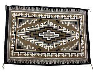 "Lucy Simpson, Two Grey Hills Style Navajo Hand Woven Blanket,  62 1/2""x 43 1/2"""