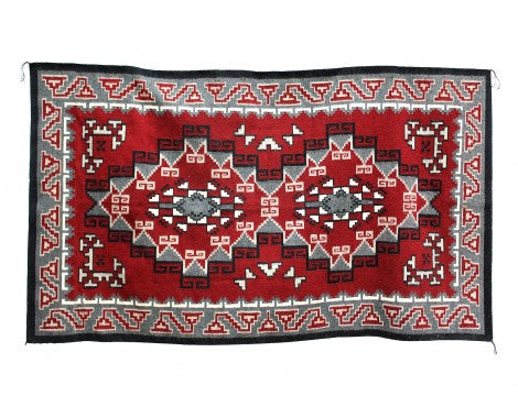 Elouise Geshie, Two Grey Hills, Navajo Hand Woven, 7'5